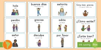 Greeting Flashcards Spanish (Latin)/US English - French Greetings A5 Flashcards - greetings, a5, flashcards, flashards, flascards, kindergarten, span