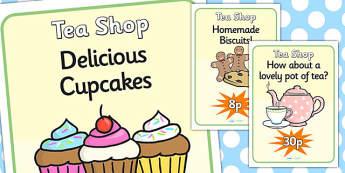 Tea Shop Role Play Display Posters-tea shop, role play, display posters, posters, role play posters, tea shop role play, tea shop posters