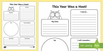 This Year Was a Hoot! End of Year Worksheet / Activity Sheet - End of Year, end of year worksheet, end of year worksheet / activity sheet, transition worksheet, transition act