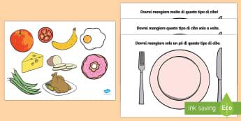 Mangiare Sano Distribuisci Gli Alimenti Attività - alimentazione, pasti, cibo, piatto, pranzo, cena, italiano, italian