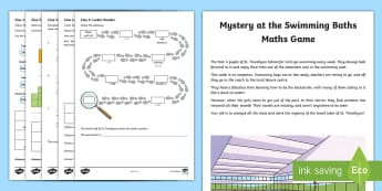 LKS2 Mystery at the Swimming Baths Maths Game - st trevallyan, calculations, maths skills, strategies, problem solving, fractions