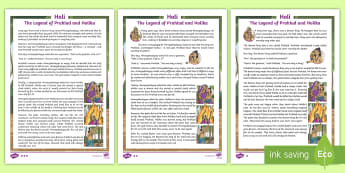 LKS2 Holi Differentiated Fact File - events, hinduism, holi, reading, legends