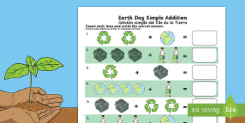 Earth Day Simple Addition Activity Sheet English/Spanish - Earth Day, simple addition, Pre-K adding, Kindergarten adding, addition skills , adding, addition, w
