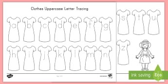 Clothes Uppercase Letter Tracing Worksheet / Activity Sheet - Handwriting, Alphabet Tracing, Center Activity, ELA, Tracing, worksheet