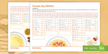 Pancake Day BIDMAS Activity Sheet - Maths, BIDMAS, pancake, order, operations, worksheet