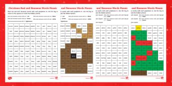 Christmas Phase 5 Phonics Mosaic - Phase 5, phonics, mosaic, real and nonsense words, nonsense words