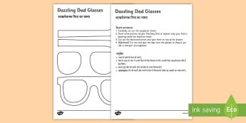 Father's Day Dazzling Dad Glasses Gift Craft English/Hindi - Father's Day Dazzling Dad Sunglasses Gift Craft - gift, craft, fathers day, EAL.