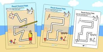 Seaside Themed Pencil Control Path Sheets - fine motor skills