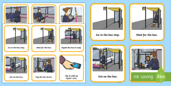 Catching a Bus Visual Support Picture Cards - bus ride, bus visual support, catching a bus, planning a bus journey, visual timetable