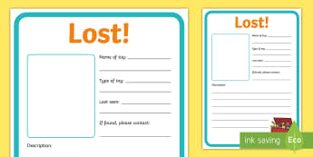 Lost Toy Poster - EYFS, Early Years, KS1, Key Stage 1, Toys, I've Lost My Teddy, Toy Shop, Literacy, Writing, Descrip