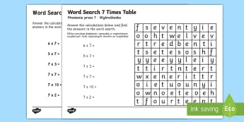 Multiplication 7 Times Tables Word Search Activity Sheet English/Polish - Multiplication 7 Times Tables Wordsearch Worksheet - multiplication wordsearch, times tables wordsea