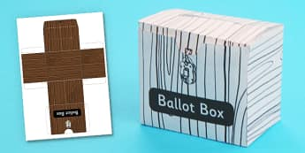 3D Ballot Box Template - 3d, ballot, box, template, craft, model