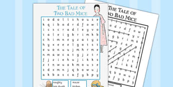 The Tale of Two Bad Mice Wordsearch - two bad mice, wordsearch
