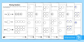 Year 2 Maths Times Tables Missing Numbers Homework Go Respond Activity Sheets  - year 2, maths, homework, multiplication, division, tables, missing numbers, problem solving, inverse