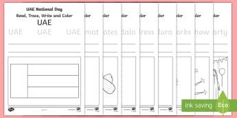 UAE National Day Trace and Colour Activity Sheets - National Day, UAE National Day, UAE Holidays, UAE Celebrations, UAE, worksheets