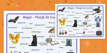 Magie - Planșă cu imagini și cuvinte
