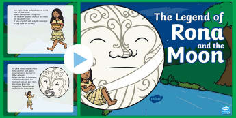 Rona and the Moon PowerPoint - Rona, marama, moon, calabash, ngaio.