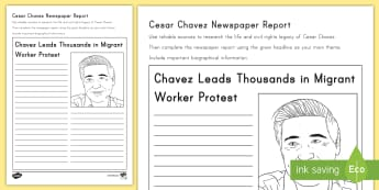 Cesar Chavez Newspaper Report Writing Activity Sheet - Cesar Chavez, Cesar Chavez Day, Latino Civil Rights, Civil Rights, Migrant Workers, newspaper, repor