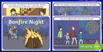 KS1 Bonfire Night  Story Sequencing Cards - 5th November, Bonfire, Fireworks, Sparklers, Guy Fawkes