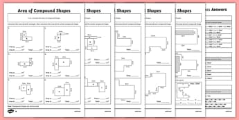 Area of Compound Shapes Differentiated Worksheet / Activity Sheet Pack - worksheet