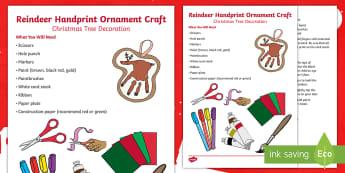 Reindeer Handprint Ornament Craft Instructions - Christmas, Reindeer, santa, Ornament, Christmas tree, Christmas Ornament, Christmas, Christmas Craft