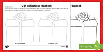 KS2 Christmas Gift Reflections Flapbook - KS2 New Year, Christmas gifts, giving and receiving, KS2 Christmas presents, new year, january, new