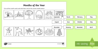 Southern Hemisphere Months of the Year Cut and Stick Differentiated Activity Sheets  - Southern Hemisphere Months of the Year Cut and Stick Differentiated Activity Sheets - months, year,