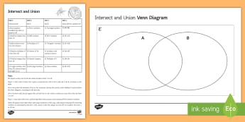 Intersect and Union Venn Diagram Game - Venn Diagrams, Sets, Intersect, Union, Complement, Number Properties, Set Notation, Universal Set
