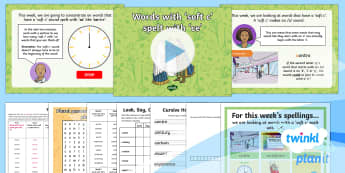 PlanIt Spelling Year 4 Term 2B W2: Words with a soft c spelt with ce Spelling Pack - Spellings Year 4, soft c, SPaG, GPS, weekly, weeks, lists, year 4, appendix 1, spelling,