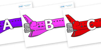 A-Z Alphabet on Jets - A-Z, A4, display, Alphabet frieze, Display letters, Letter posters, A-Z letters, Alphabet flashcards