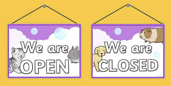 Pet Groomers Role Play Open Closed Sign - pet groomers, role-play