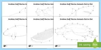 Arabian Gulf Marine Animals Dot to Dot Activity Sheet - arabian Gulf, Arabian Sea, Arabian Animals, UAE animals, dugong, whale shark