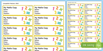 Pupil Maths Copybook Labels-Irish