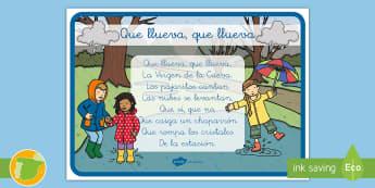 Que llueva, que llueva Póster  - canción, lluvia, poemas, tradicionales,Spanish
