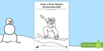KS1 Design a Winter Olympics Snowboarding Outfit Activity Sheet - Olympic Games, Sportswear, Winter sports, Sport Suit, Snowboarder, worksheet