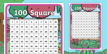 Treasures in the Garden 100 Number Square - twinkl originals, fiction, story, lost, children, counting, 0-100, counting on, counting back, numbe