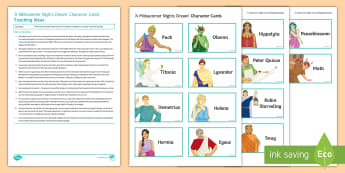 A Midsummer Night's Dream Character Cards Pack - A Midsummer Night's Dream, characters, roleplay, role, play, hot-seat, hotseat, hot, seat