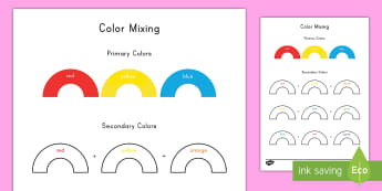 Color Mixing Activity - color, mixing, art, primary colors, paint, red, blue, orange, green, yellow,