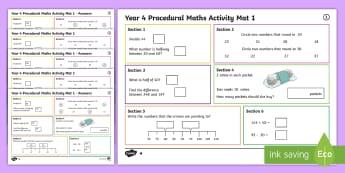 Procedural Year 4 Mat 1 Maths Activity Mats - Maths Acitvity Mats, matiau mathemateg, gweithgareddau mathemateg, Deunyddiau sampl rhifedd, Profion
