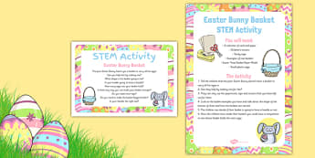 Easter Bunny Basket STEM Activity - Science, Technology, Mathematics, Engineering, Easter