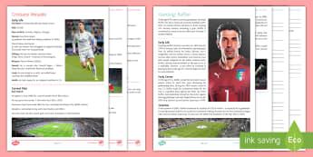Champions League 2017 Fact File Activity Sheets - biography, Ronaldo, Buffon, football, chronological,temporal connectives, information