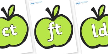 Final Letter Blends on Apples - Final Letters, final letter, letter blend, letter blends, consonant, consonants, digraph, trigraph, literacy, alphabet, letters, foundation stage literacy