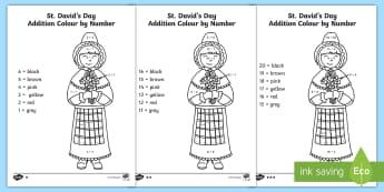 St. David's Day Differentiated Addition Colour by Number Activity - Cennin Pedr, cennin, daffodil, leek, Cymru, Wales, Welsh, Cymraeg, cyfri, counting, Total, cyfanwsm,