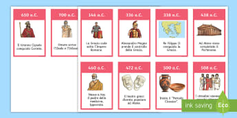 Ordina la linea del tempo dell'antica Grecia Attività - storia, storico, antichi, studiare, italiano, italian, materiale, scolastico