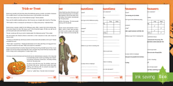 KS2 Halloween Fiction Differentiated Reading Comprehension Activity - Pumpkin, Lantern, October, Witch, Trick or Treat, Reading Comprehension