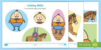 Humpty Dumpty Cutting Skills Activity Sheet - Humpty Dumpty Cutting Skills Activity Sheet - worksheet, nursery rhymes, humpty dumpty, fine motor,