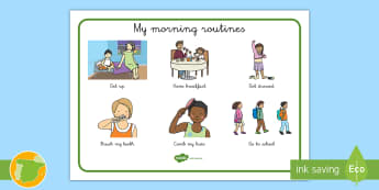 Vocabulary Mat: Morning Routines - morning, routines, vocabulary, get up, breakfast, get dressed, comb, go to school