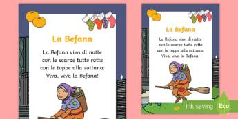La Befana Filastrocca - epifania, leggere, witch, strega, italiano, italian, materiale, scolastico