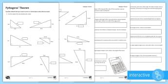 Pythagoras' Theorem Problem Solving Go Respond Activity Sheets - Pythagoras, Triangles, Calculating Missing Sides, Hypotenuse