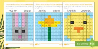 Ostern Multiplikation Mosaik Arbeitsblätter - .  Suggested resources for translation - Klasse 3./4.,German